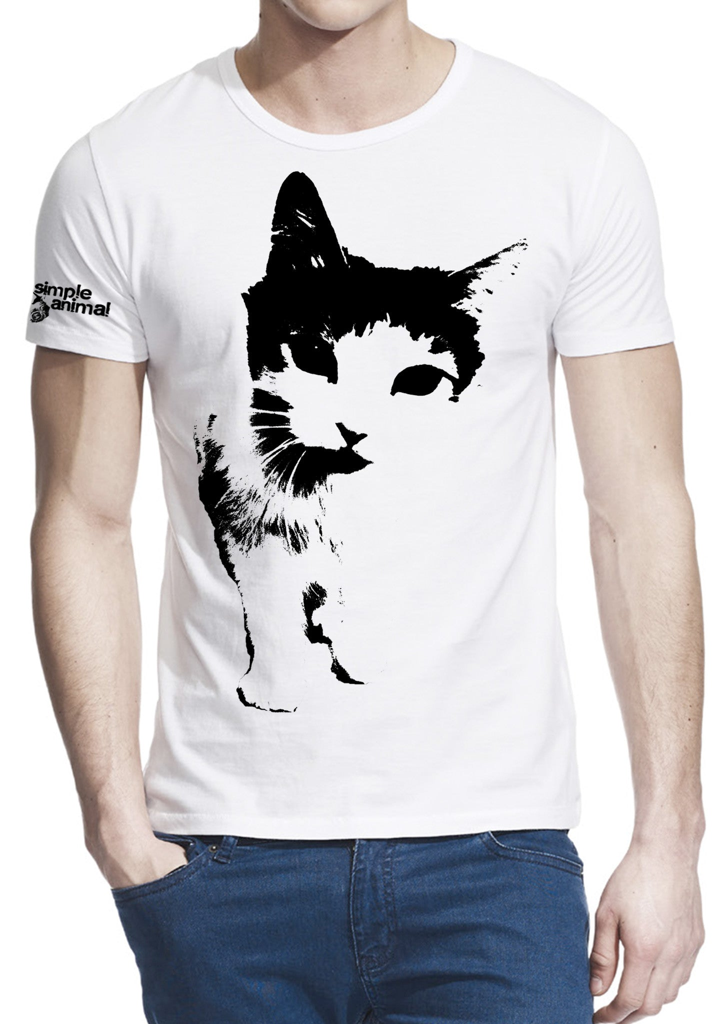 Cat Frontin' Bamboo-Viscose, 70% Bamboo-Viscose & 30% Organic Cotton, Guys - Simple Animal