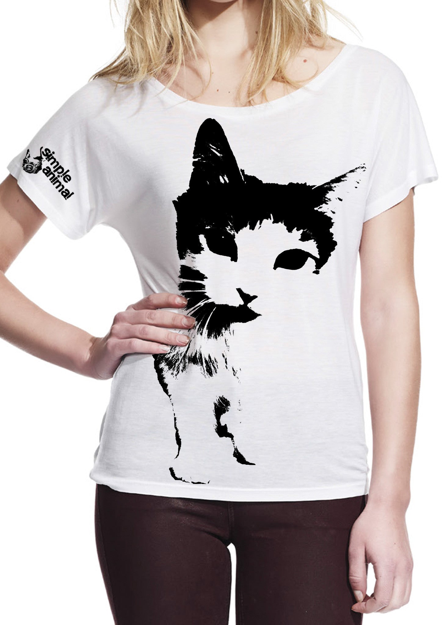 Cat Frontin' Batwing Style, 100% Lyocell, Ladies - Simple Animal