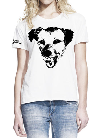 Happy Dog, Boyfriend Style, 100% Cotton, Ladies - Simple Animal