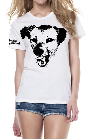 Happy Dog, Classic Style, 100% Organic Cotton, Ladies - Simple Animal