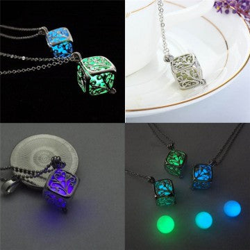 Hollow Square Magic Life Tree Luminous Beads Pendant Glow In The Dark Pendant Necklace