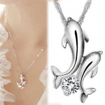 Double Dolphin Necklace Pendants Elegant Jewelry Pendants Necklace For Women