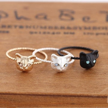Womens Cool Exquisite Kitten Cute Cat Diamond Ring With Crystal Eyes