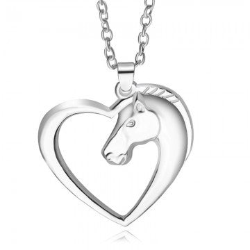 Silver heart horse Pendant jewelry plated Silver Horse in Heart Necklace