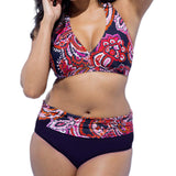 Large size Push Up  high waist  floral print Swimsuit