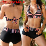 Split Stripe Print Flexible Boxer Swimsuit