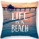 Ocean Beach Cushion Cover Pillowcase Cotton Linen Chair Seat Square  45x45cm