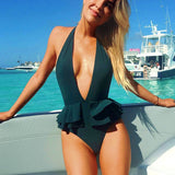 Sexy Deep V Neck Ruffle Swimsuit