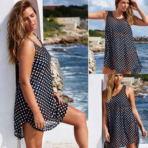 Polka Dot Bathing Suit Bikini Cover Up Chiffon