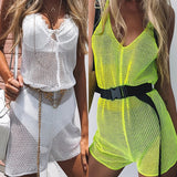 Sexy Mesh Knitted Crochet Beach Cover Up Dress