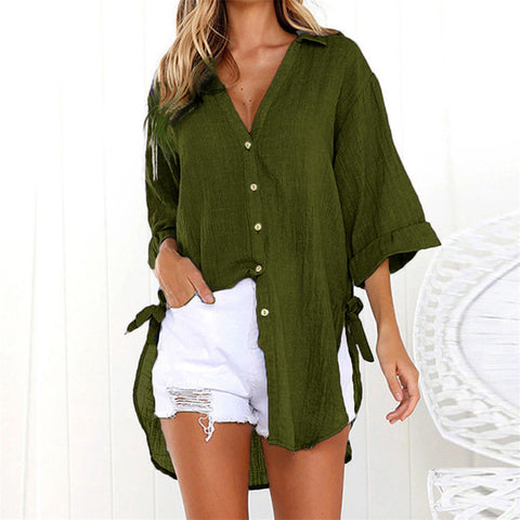 Beach Cover Up Solid Bikini Tunic Button Long Sleeve