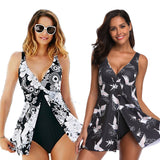 Plus Size XXXL One Piece Swimsuit With Skirt Sexy Deep V Print