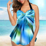 Feather Print Tankini Two Piece Tummy Control