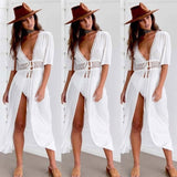 Pareo Beach Cover Up tunics for beach Short Sleeve V Neck  white beach dress