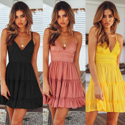 Sweet Boho Short Mini Dress V Neck High Waist Sundress