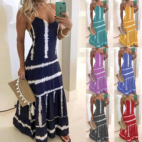 Spaghetti Strap Sexy Ankle-length Women Dress