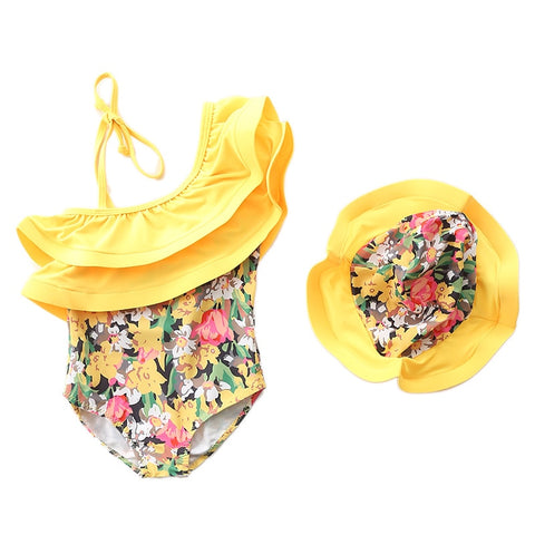 1~7Y Baby Girls Swimming suit Ruffle Style Children Swimwear