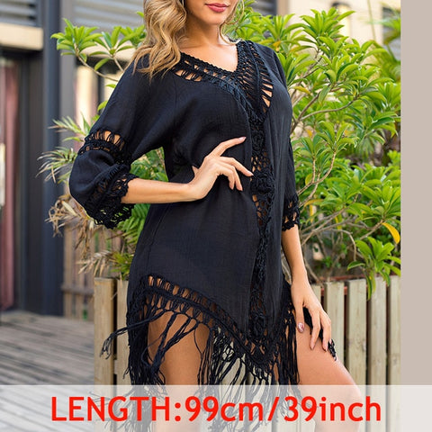 Sexy Tassel Cover Up Beach Dress Tropical Hollow Out