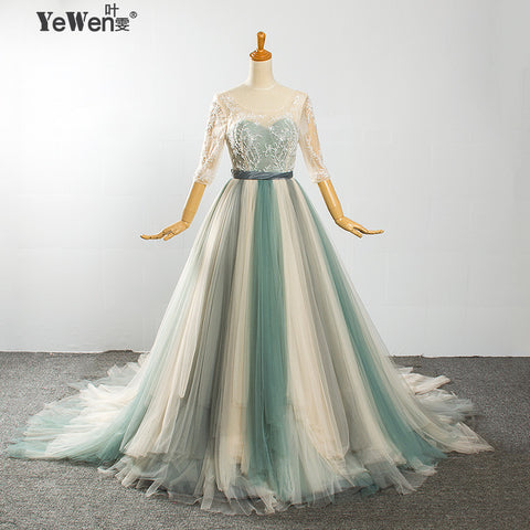 Beach Colorful half Sleeves A-line Backless Crystal Wedding dress