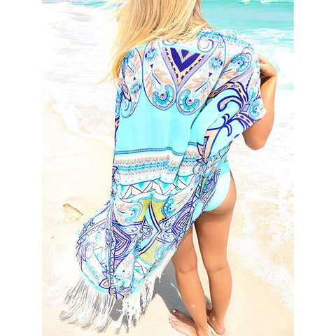 Chiffon Beach Cover Up Long Tassel Beach Cardigan