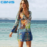Sexy Swimsuit Cover Up Long Sleeve Bikini Cover Ups Chiffon Flower Beach Mini Dress