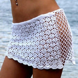 Beach Cover Up Skirt Women Lace Knitted Cover up