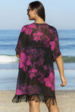 Plus Size Flower Beach Cover Up