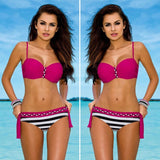 Two-Piece Beachwear Three Colour Striped Bodysuit