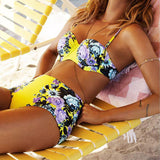 High Waist Retro Print Bathing Suit