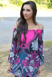 Ethnic Dress Thailand Boat Neck Vintage Floral Short Beach Dress