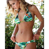 Flower Print Halter Bikini Adjustable Strap Swimwear
