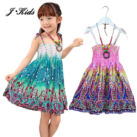 Girls dress summer bohemian style Knee-length