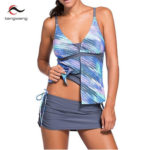 Tankini  2 Piece Colorblock Tankini Skort Bottom Push Up Swimsuit