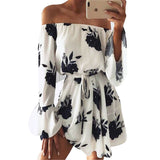 Beach Floral Boho Dress Off the Shoulder Flare Sleeve Mini Dress