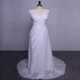 Elegant Applique Wedding Dress Chiffon Plus Size Beach Bridal Gowns