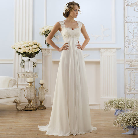 Lace Wedding Dress Beach Vestido De Noiva Cap Sleeve Empire Lace-up Back Chiffon Bridal dress