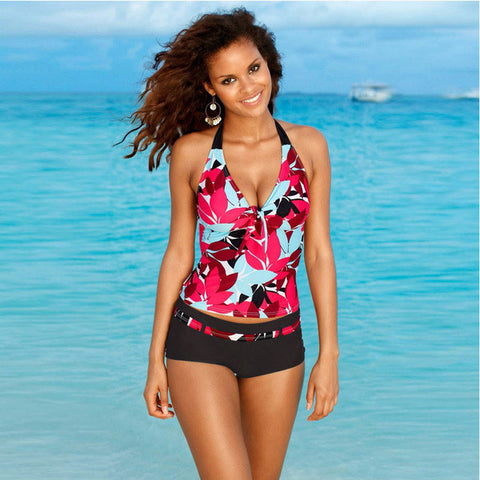 Two Piece Pregnant Swimsuit Tankini Sexy Floral Halter