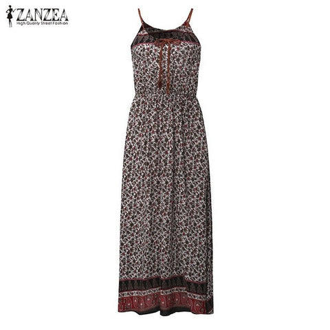 Long Maxi Dress High Waist Print Casual Loose Sleeveless Beach Dress Oversized