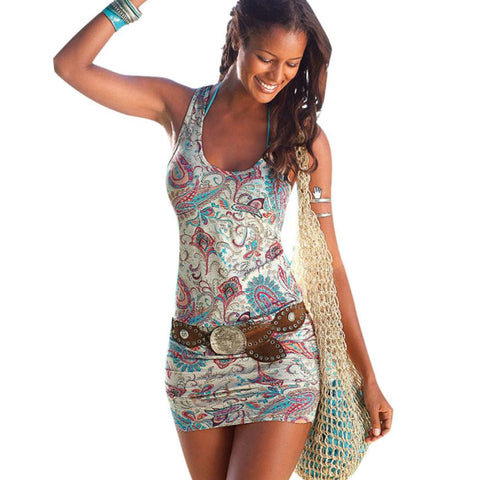 Women Casual Sexy Beach Mini Sleevless Sundress