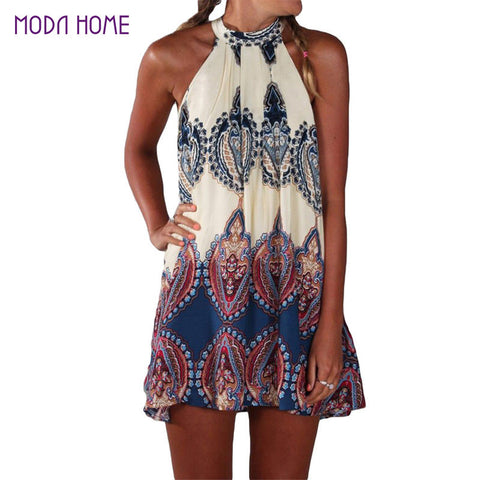 Boho Dress Printed Halter Neck Sleeveless Hippie Mini Beach Dress