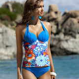 Floral Print Two Pieces Tankini Large Cup