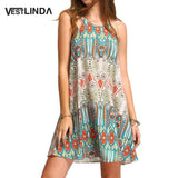 Bohemia Sleeveless Dress Floral Print Spaghetti Strap Mini Beach Dress