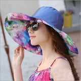 Sun Hat Ladies Wide Brim Hats Foldable Beach Panama Hats