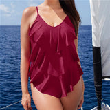 Ruffle One Piece Cover Belly Swimwear Slimming