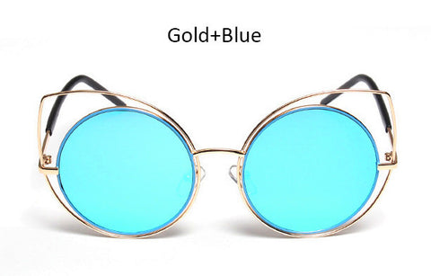 New Round Large Hollow Metal Frame Cat Eye Sunglasses UV400