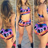 Sexy Crop Top High Waist Shorts Floral Bikini