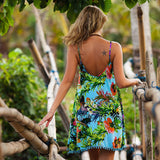 Bohemian Backless print Beach Cover Up