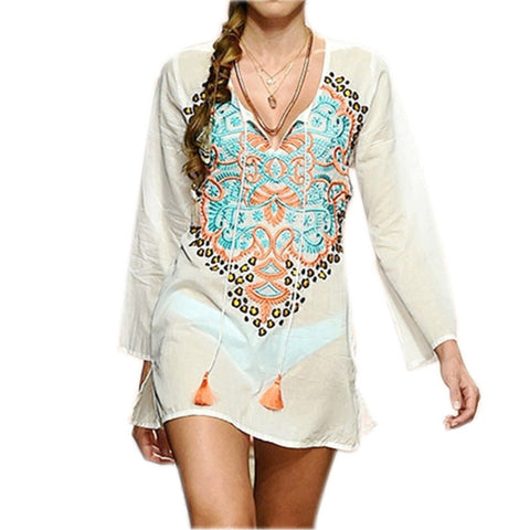 Beach Cover up Rayon Embroidery Vintage