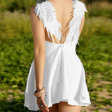 Elegant White Dress Backless V - Neck Angel Wings Beach Dress