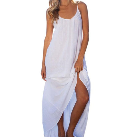 Sexy White Dress Sleeveless Backless Deep O-Neck Beach Dress